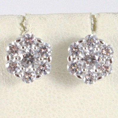 WHITE GOLD EARRINGS 18K, FLOWER WITH ZIRCON CUBIC, MADE IN ITALY, GOLD 750