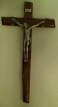 Crucifix - Beveled Dark Brown Wood Cross with Silver Corpse - 8.5 inches