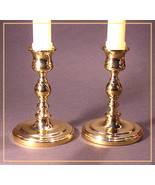 "Set of 2 ● BALDWIN Brass 5"" CANDLESTICK Holders #7205 ● Round Base FREE ... - $23.70"