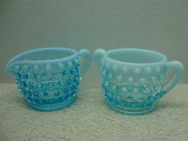 Fenton Glass blue opalescent mini sugar & ceramer in the hobnail pattern. - $25.00