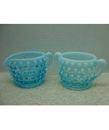Fenton Glass blue opalescent mini sugar & ceramer in the hobnail pattern. - $15.00