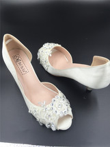 Ivory White Bridesmaids Shoes,Large/Small Size Satin Bridesmaids Low Heels Shoes - $48.00