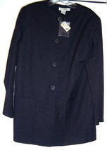 ANN TAYLOR Linen Rayon Coat Jacket Top Blouse Black Mid 90's New Vintage - $29.95