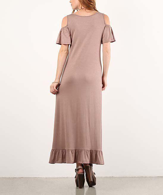 Pretty Tan Ruffle Cutout Maxi Dress Size Small New Unworn