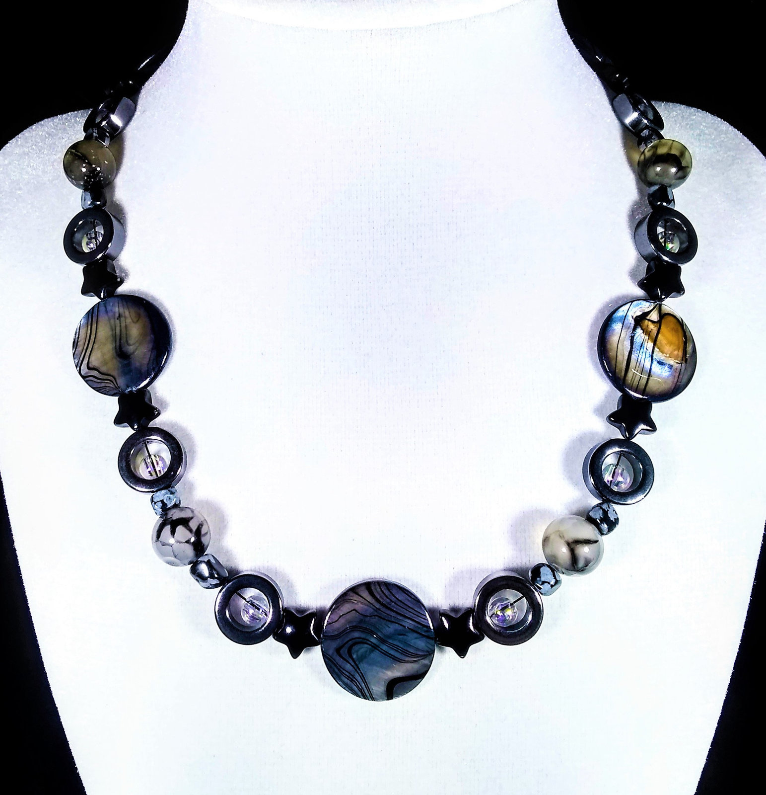 "Primary image for 17 1/2"" Genuine hematite, snowflake obsidian, fire agate, shell & artglass bead"