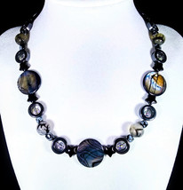 "17 1/2"" Genuine hematite, snowflake obsidian, fire agate, shell & artgla... - $90.00"