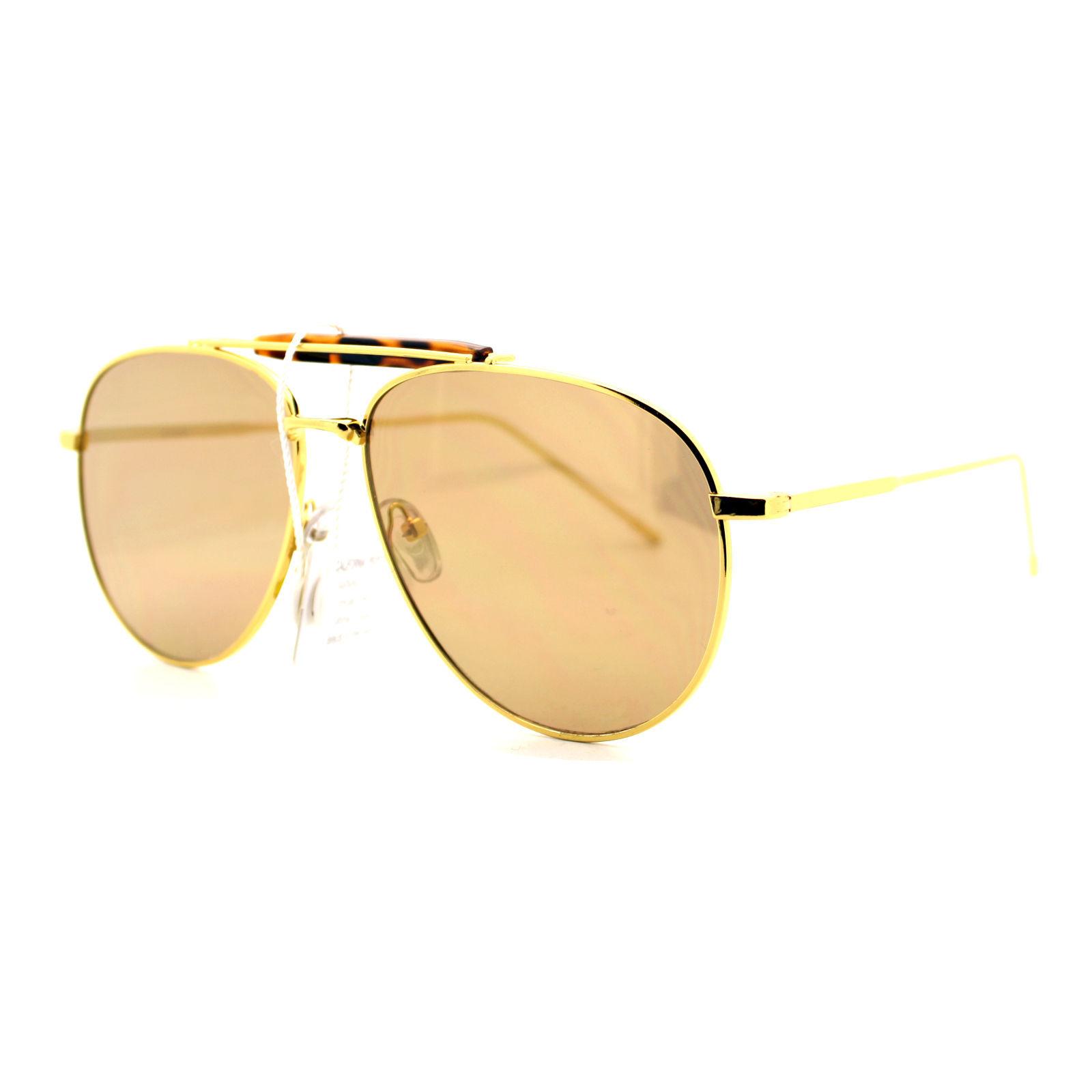 New Flat Lens Aviator Sunglasses Vintage Retro Top Bar Metal Aviators