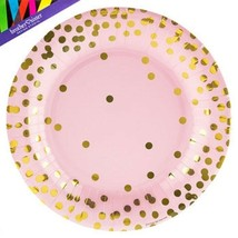 Pink With Gold Foil Dots Party Tableware (Plates Napkins)  - $9.74+