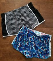 Justice Girls Active Athletic Gym Shorts Size 18 Blue Red White Black Dance - $10.49