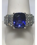 Custom 14K White Gold Cushion Cut Tanzanite and Diamond Ring (Size 9 1/2) - $2,950.00