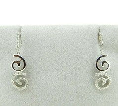 14k White Gold Genuine Natural Diamond Swirl Earrings .25ct (#J726) - $495.00