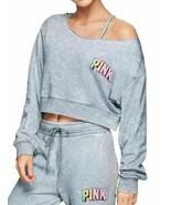Victorias Secret PINK Crop Blue Tie Dye Off Shoulder Long Sleeve Top Med... - $22.18