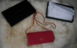 NIB 100% AUTH Prada Saffiano Leather Chain Wallet 1M1290 In Peonia $875 - $592.02