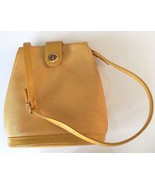 Vintage Yellow Bucket Ribbed Leather Shoulder Bag - $70.13