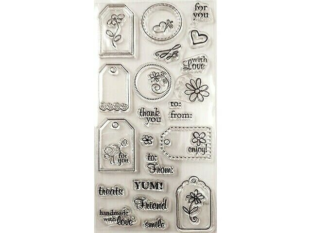 Cute Tags Clear Stamp Set with Sentiments