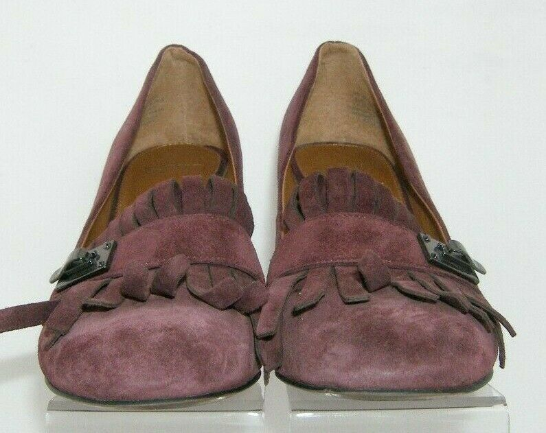 Franco Sarto 'Ainsley' purple suede buckle kiltie slip on block heels 7.5M image 11