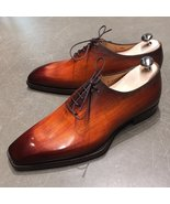Handmade Cognac Patina Whole Cut Oxfords for Mens Custom Made Premium Qu... - $144.99+