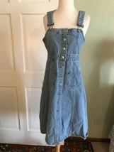 Vtg Blue Denim  Button Up Jean Overall Jumper Dress Size 4 XS - $32.67