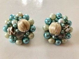 Vintage 50's Mid-Cent Turquoise, Off White Luster Cluster Earrings Signe... - $12.19