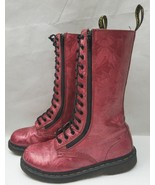 Dr Martens Womens Boots 11305 Red Ruby Jewel Hologram Calf High 14 Eye S... - $84.83
