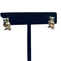 Betsey Johnson Green Eye Owl Post Stud Earrings GOLDTONE K907 - $12.34