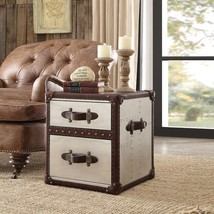 Acme 96677 Durham Retro Brown Genuine Leather Accent Chair w/End Table S... - $1,707.00