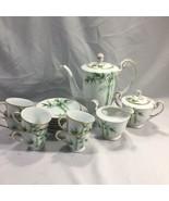 NORITAKE 1940'S Green Bamboo Demitasse Tea Coffee Set 1538G NIPPON TOKI ... - $143.52