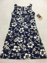 NWT Hilo Hattie Womens 6 Navy Blue White Tan Hawaiian Tropical Flower Dress - $22.99