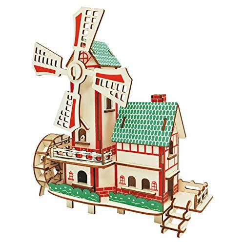 BOOBI Wooden Windmill House 84PCS DIY Ornaments Laser Cut 3D Colorful Assembly P