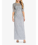 Adrianna Papell Long Beaded Dress With Draped Sleeves In Glacier    4    $349 - $246.51