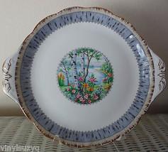ROYAL ALBERT Silver Birch Serving Cake Plate Tab Handled Bone China England - $24.74