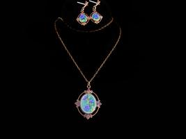Vintage Enamel necklace -  Fleur de Lis  pendant - victorian drop earrin... - $125.00