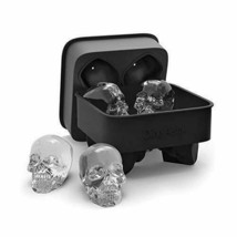 3D Skull Flexible Silicone Ice Cube Mold Tray Makes Four Giant Skulls Ro... - $24.99