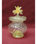 Vintage BAROVIER & TOSO Murano Art Glass DRESSER JAR with Gold Mica Incl... - $295.00