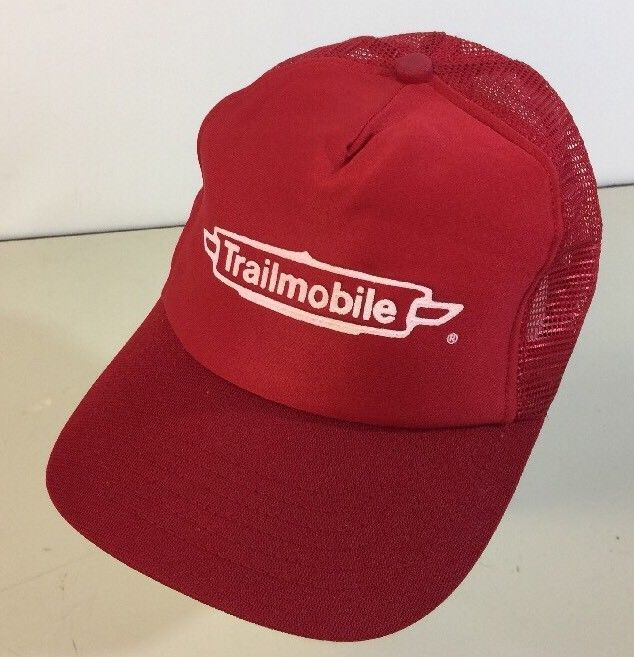 Vintage Trailmobile Trucker Snapback Hat Red Made In USA Semi Trailer Dry Van