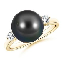 10mm Classic Cultured Tahitian Black Pearl Diamond Ring in Silver or Gold - $462.43+