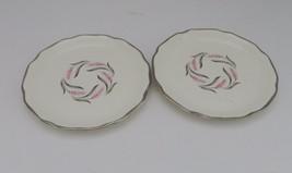 Pink Silver Wheat Sabin Mt Clemons Dessert Plates Silver Trim Lot of Two - $9.89