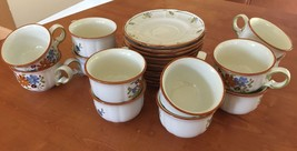 Vernonware Metlox Poppytrail Vernon bouquet cups & saucers sets x 12 g o - $46.75
