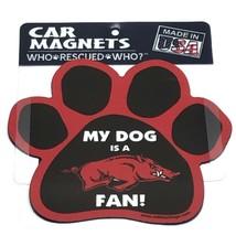 Arkansas Razorbacks NCAA / My Dog is a Fan Paw Print Magnet / Auto Car F... - $12.95