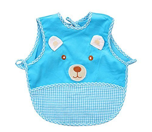 Cute Cartoon Bear Sleeveless Baby Bibs Baby Feeding Bibs BLUE, 0-1.5 Years