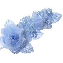 """3 light blue Silk Pearl & organza flower  Corsages 5""""x 2.5 with pearl pin - $6.68"""