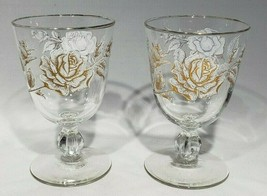 SET of 2 Libbey Rose Bouquet Water Goblets White Gold Rose Discontinued 1963 - $12.95