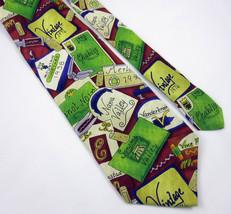 Wine Labels Tie Ralph Marlin Silk Necktie Napa Valley Sonoma Merlot Pinot Noir - $16.99