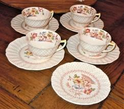 9 Pc VTG ENGLAND Royal Doulton Grantham D 5477 Teacup & Saucer Set PLEAS... - $49.49