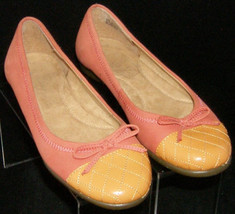 Aerosoles Beckon orange suede round toe bow quilted ballet flat wedges 6M - $29.60
