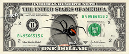 Black Widow SPIDER on REAL Dollar Bill - Cash Currency Bank Note Money Dinero - $14.44