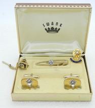 SWANK BPOE Cufflinks Tie Clasp Bar Pin Set Gold Tone Vintage Set - $49.49