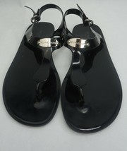 Michael Kors Sandals Plate Thong Sandals Jelly Black w/ Silver Accents - $29.70