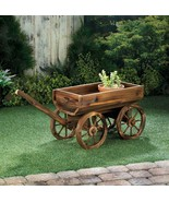 Wood Wine Whiskey Barrel Wagon Flower Planter Stand Outdoor Country Gard... - $79.20