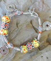 Coin bracelet, Lucky coins bracelet, Simple beaded bracelet, Murano Glas... - $23.99